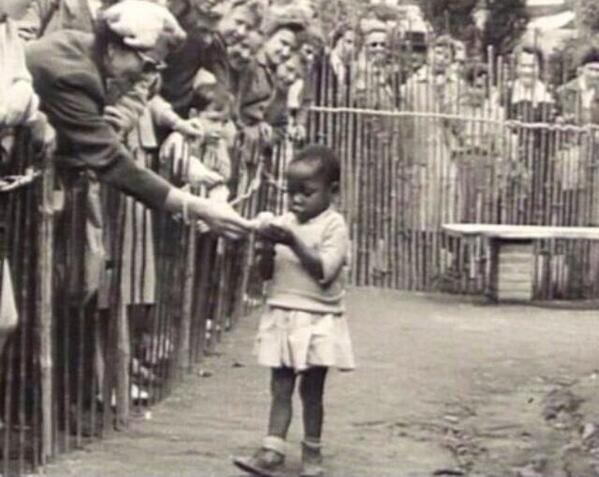 African girl in human zoo, Belgium 1958