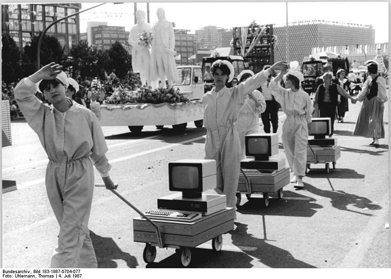 Berlin parade with desktop computers