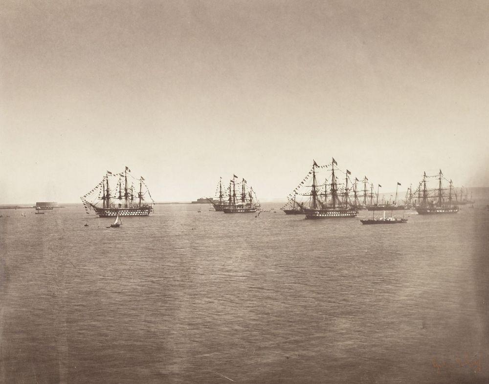 1858. A Brit Kiralyi Flotta utban hazafele Franciaoszagbol, fedelzeten Viktoria kiralynovel, aki III. Napoleont latogatta meg.