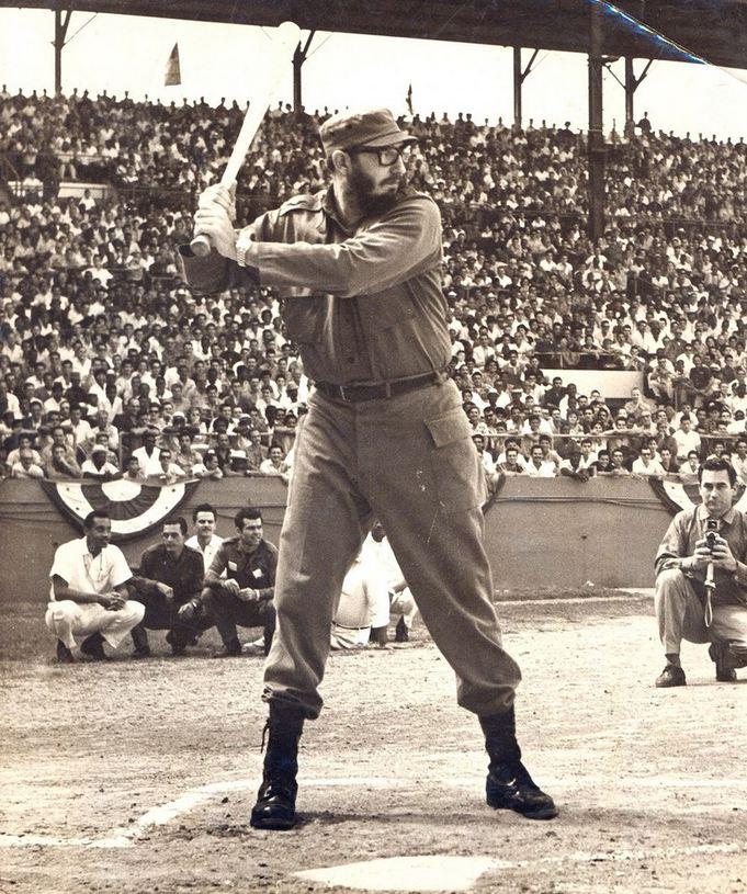 1959, Fidel Castro plays baseball in Havana