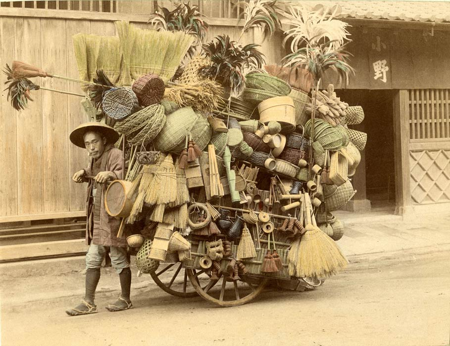 Japanese mobile vendor selling baskets and brooms, 1901