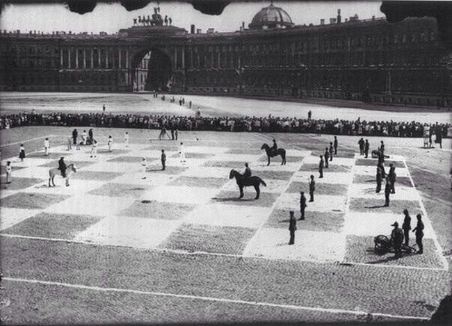 1924. A game of human chess with actual soldiers. St. Petersburg, Russia. [1924]