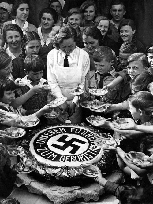 Children celebrating Hitler's birthday, 1934
