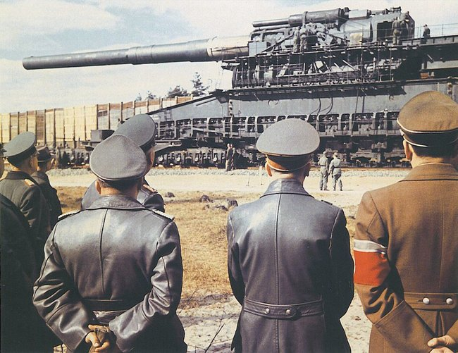 1936, Adolph Hitler asked artillery-maker Gustav Krupp whether he could build an artillery piece to defeat the new French Maginot Line. Krupp's suggestion a giant cannon with an 80-cm (31-inch) caliber.
