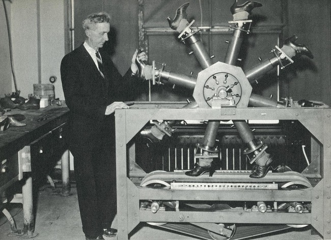 1937. The 'walking machine' at the National Bureau of Standards, for testing wear on shoes. [1937]