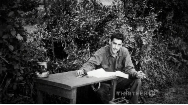 1944-45. J.D Salinger working on 'Catcher in the Rye' during the Allied invasion of France. When he landed on the beaches of Normandy, he carried 6 chapters of the book in his pack. [c. 1944 - 45]