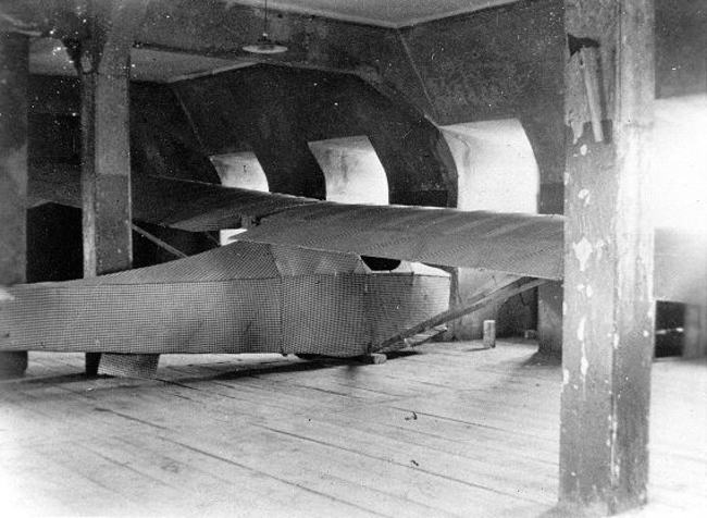 1945. The only picture ever taken of the Colditz cock, a glider made of bed-sheets, floorboards and other material. It was built by British prisoners of war to try and escape the maximum security prison. 1945