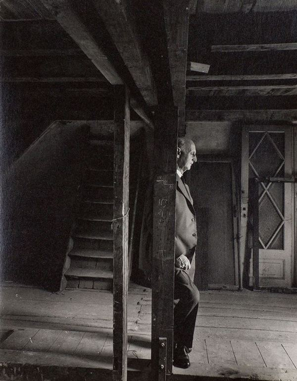 Otto Frank, Anne Frank's father and the only surviving member of the Frank family, revisiting the attic they spent the war in, 1960