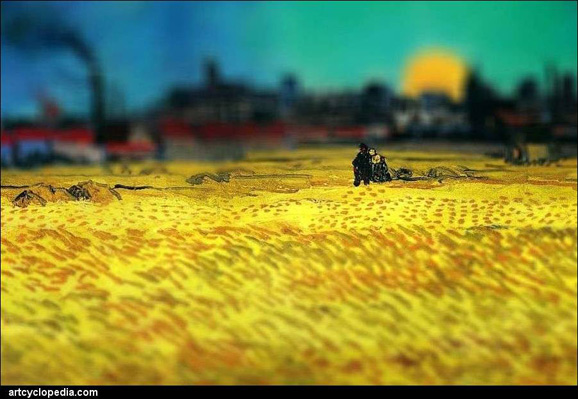 tilt-shift-van-gogh-sunset-wheat-fields-near-arles-detail