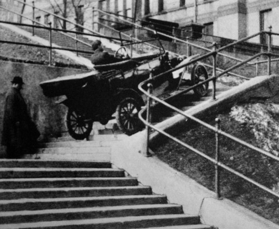 This Model T ascended three flights of steps in Duluth, Minnesota, winning its owner a $100 bet, 1910s