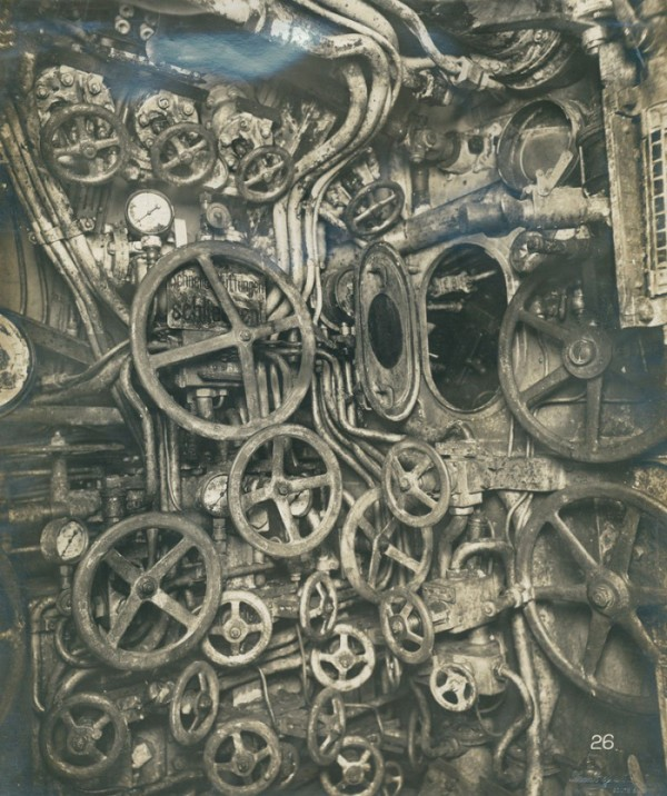Control room of a submarine in 1918