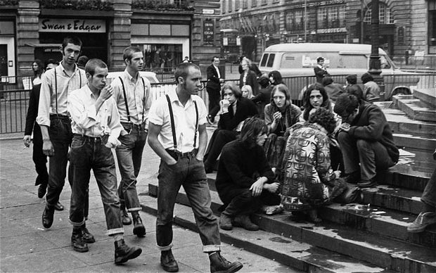 Skinheads and Hippies in Piccadilly Circus, 1969