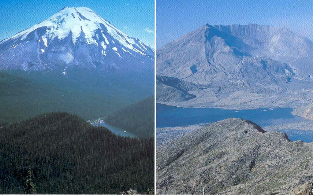 Mount St. Helens before, and after the eruption in 1980