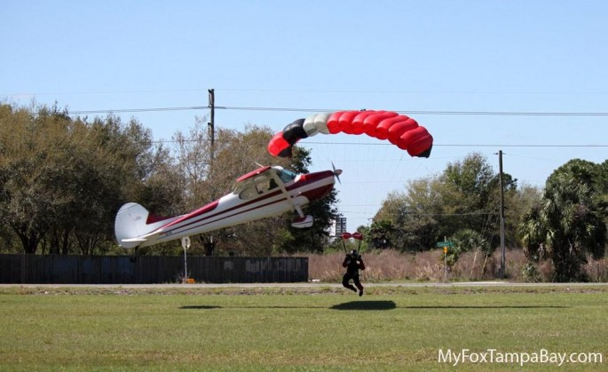 skydiver and airplane collision