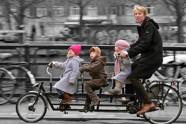 biking with 3 kids in Amsterdam