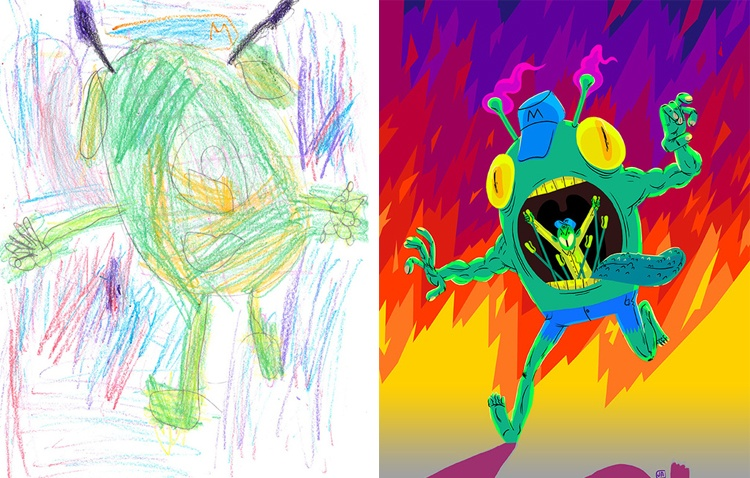 children's-monster-doodles-recreated-by- professional- artists-10