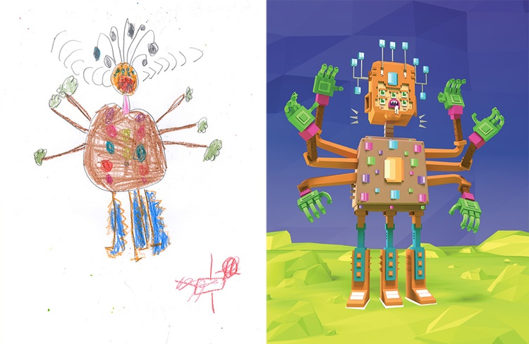 children's-monster-doodles-recreated-by- professional- artists-11