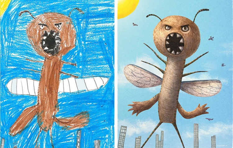 children's-monster-doodles-recreated-by- professional- artists-12