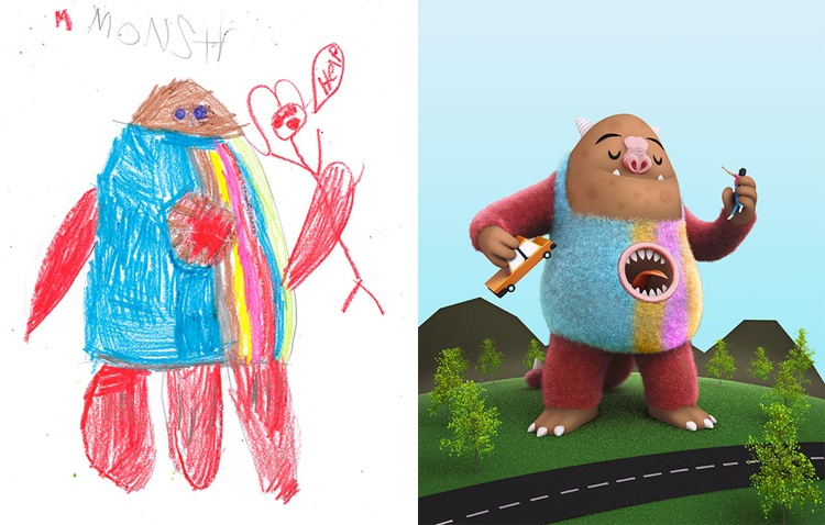 children's-monster-doodles-recreated-by- professional- artists-13