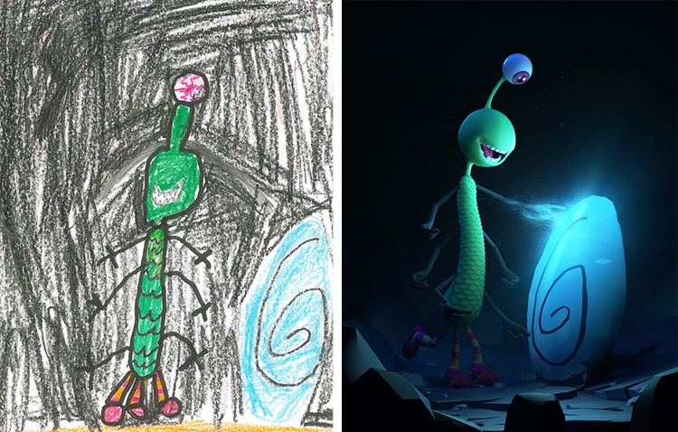 children's-monster-doodles-recreated-by- professional- artists-17