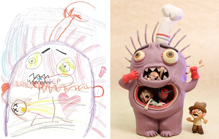 children's-monster-doodles-recreated-by- professional- artists-2