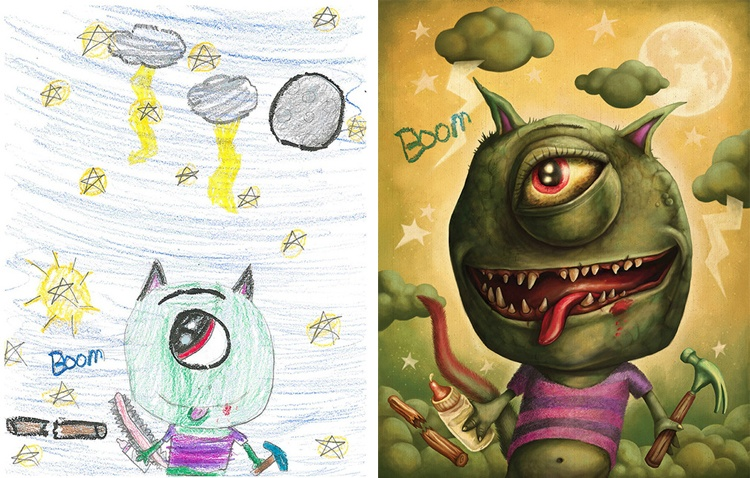children's-monster-doodles-recreated-by- professional- artists-4