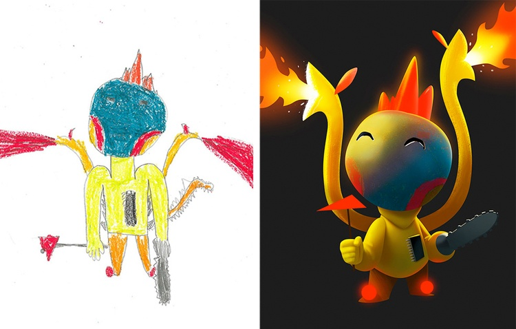 children's-monster-doodles-recreated-by- professional- artists-5