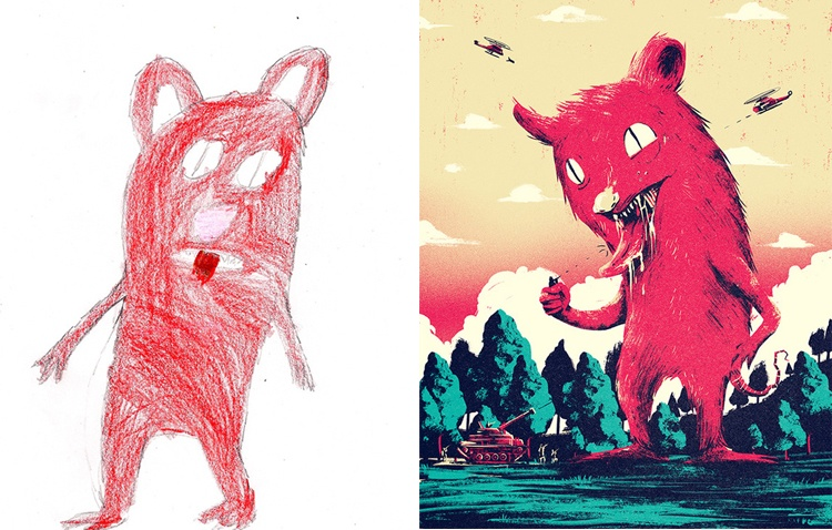 children's-monster-doodles-recreated-by- professional- artists-7