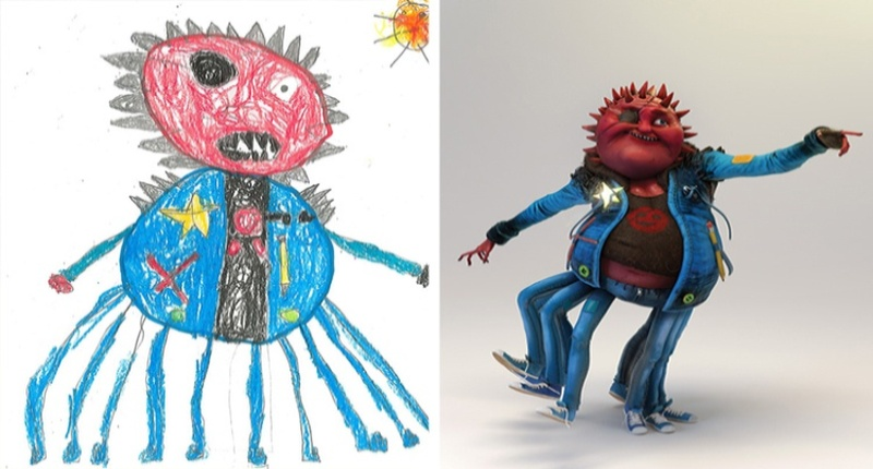 children's-monster-doodles-recreated-by- professional- artists-fb