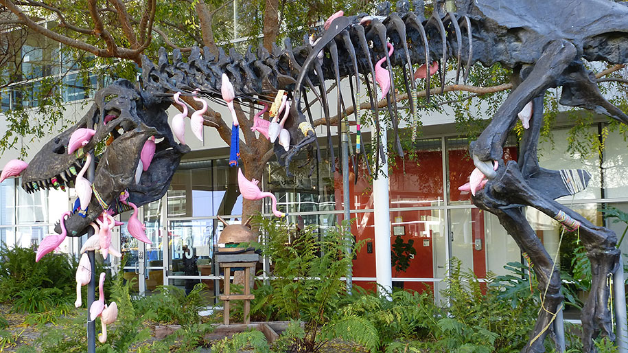 google-campus-dinosaur-attack-flamingos-4