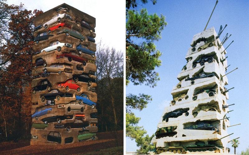 arman-long-term-parking-france-1982-and-hope-for-peace-lebanon-1995-arman-studio