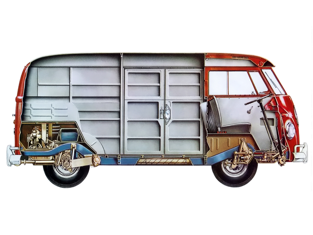 cutaway illustrations   classic volkswagen transporter bus earthly mission