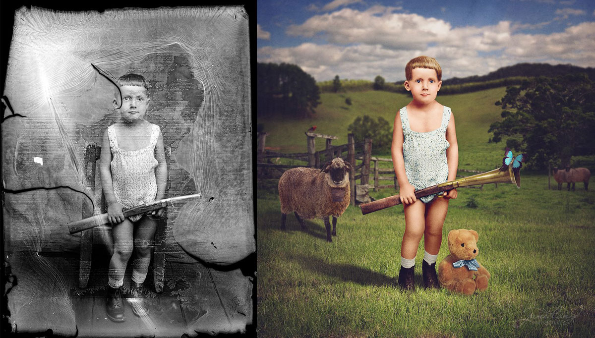 Artist Colorizes Old Photographs With Surreal Twists