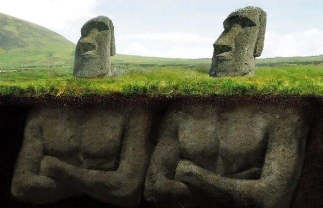As famosas estátuas da ilha de Páscoa têm corpos ocultos?