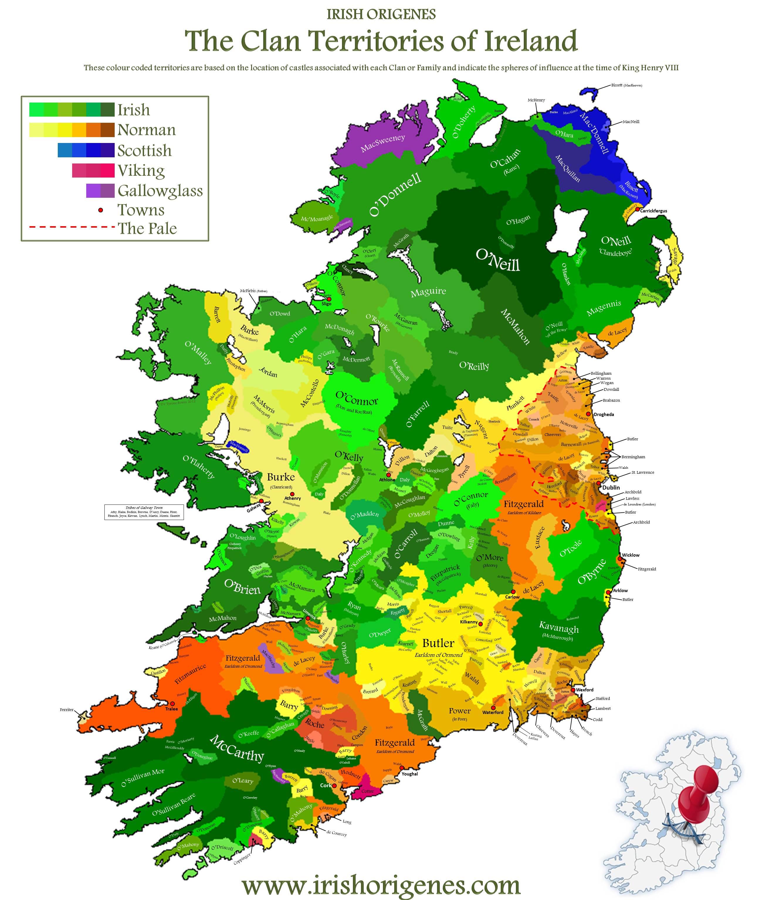 Irish clan map