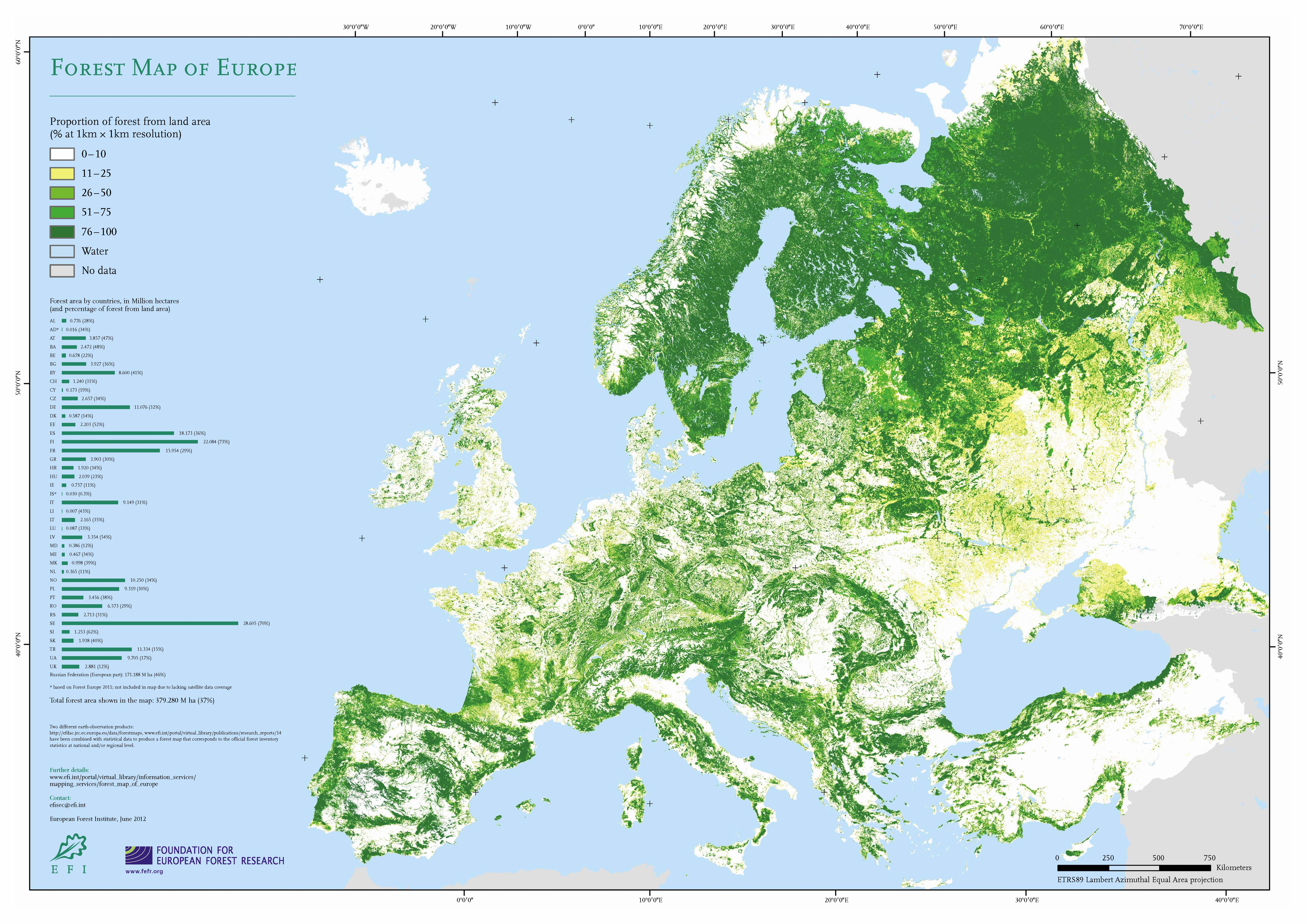 Map Of Europe In 1000.Europe Forest Map With Percentage Of Forest Area By Country