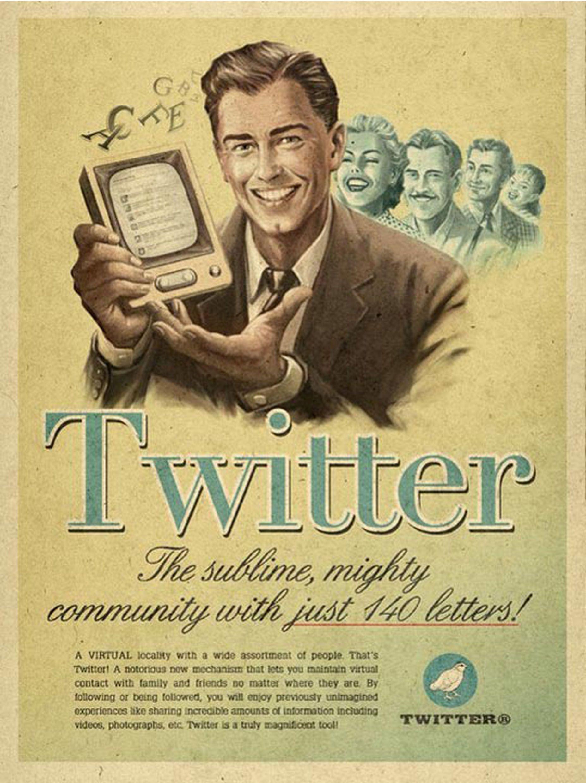 vintage social media ad twitter