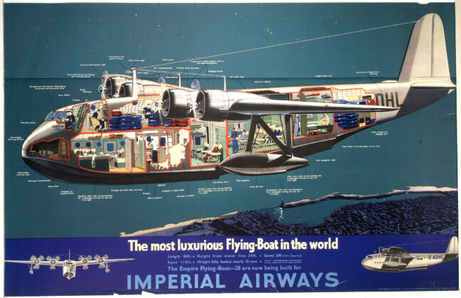 cutaway illustration flying boat