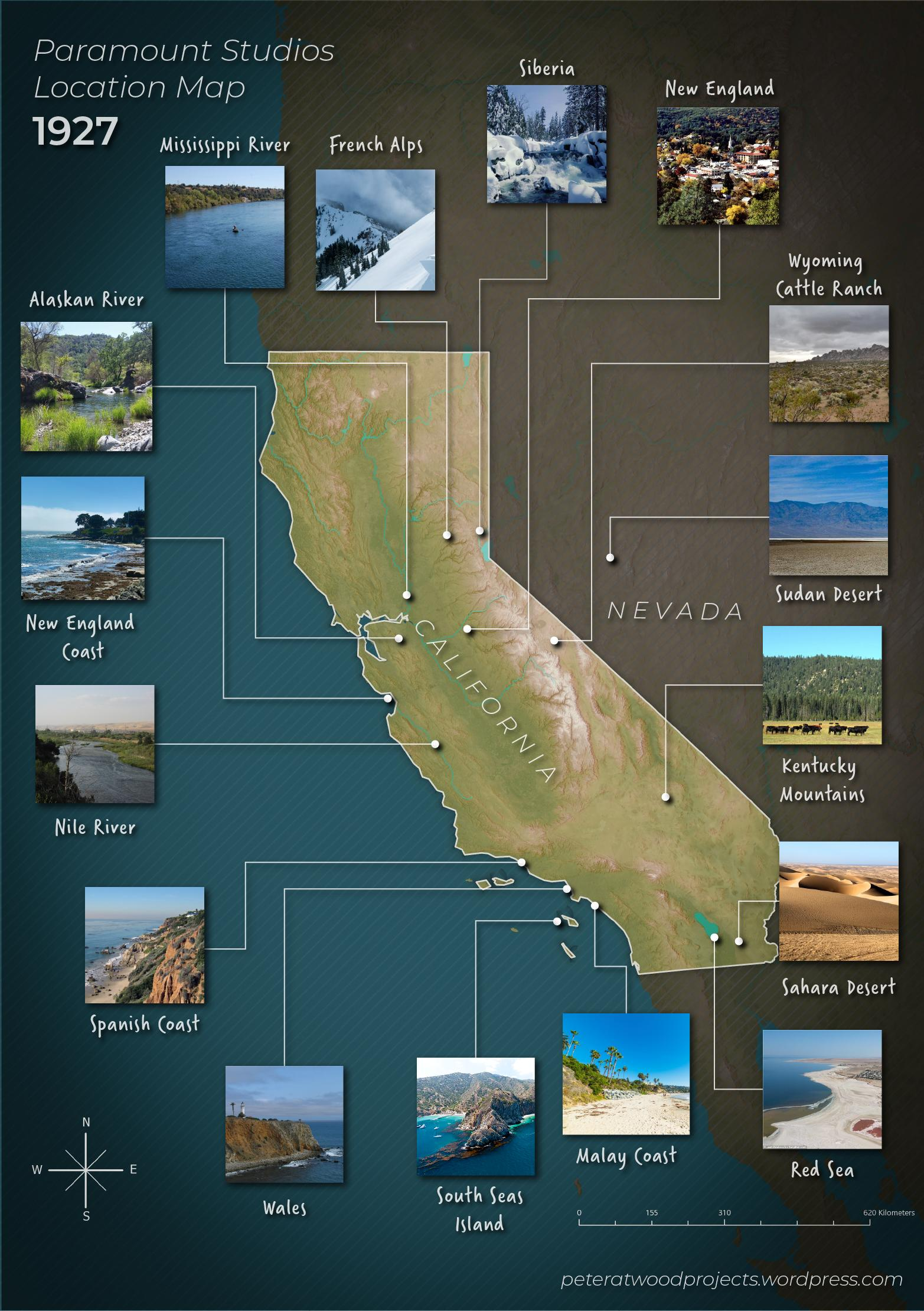 Paramount Pictures Map of Filming Locations in California in  1927 (now with photos)