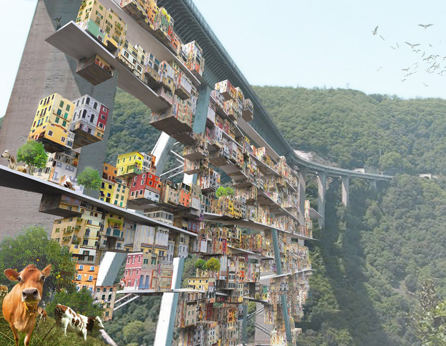 parasitic city italian highway bridge