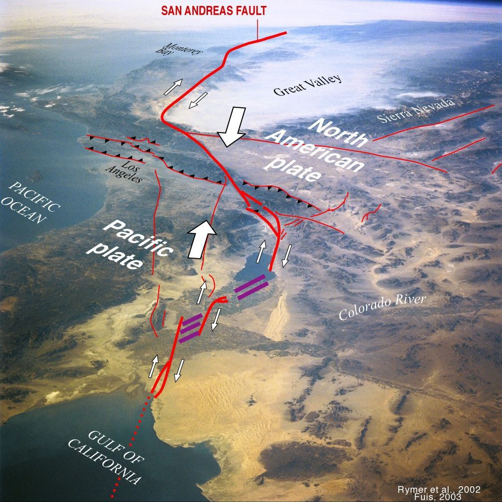 San Andreas Fault Superimposed Over California Landscape