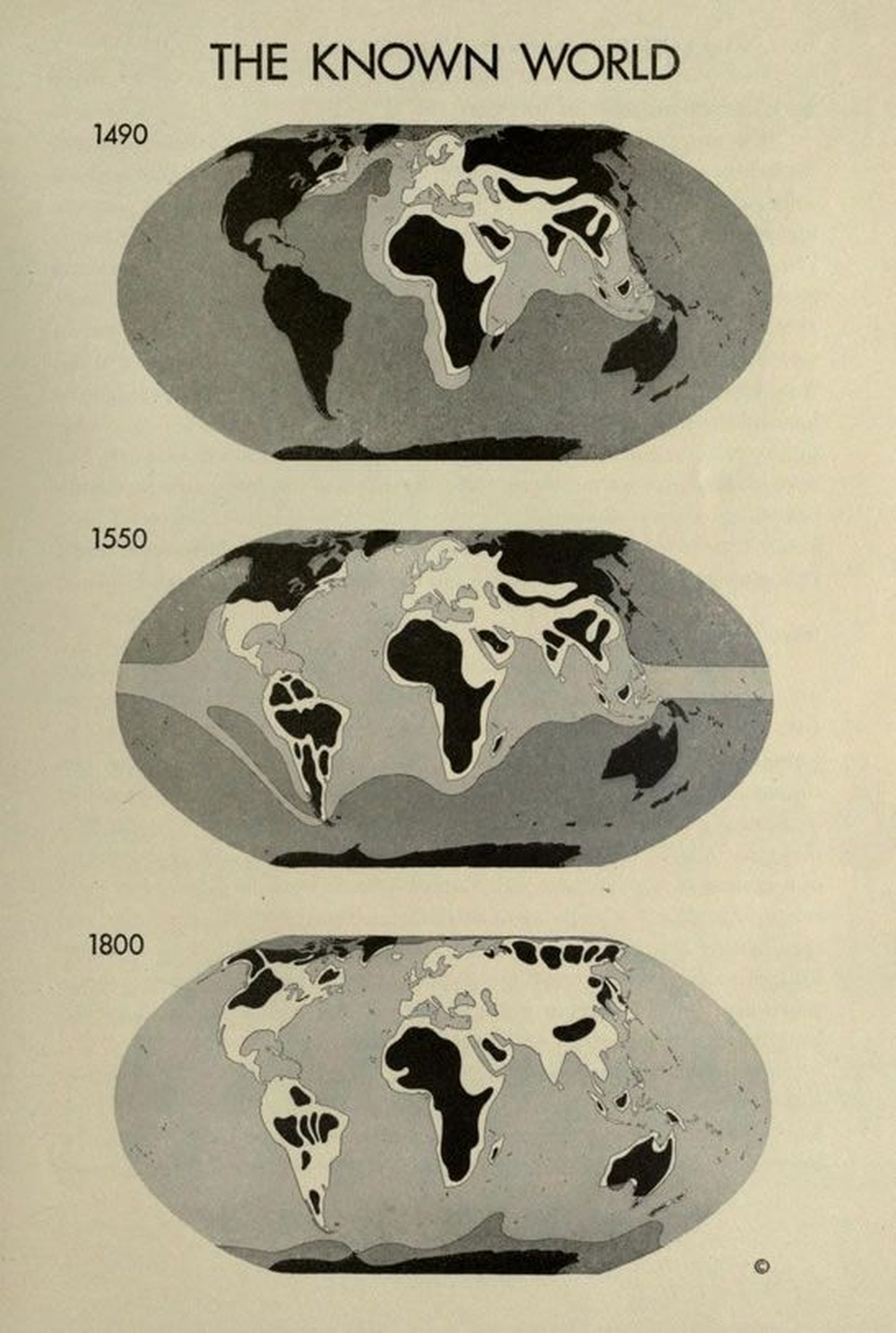 The Known World in 1490, 1550 & 1800