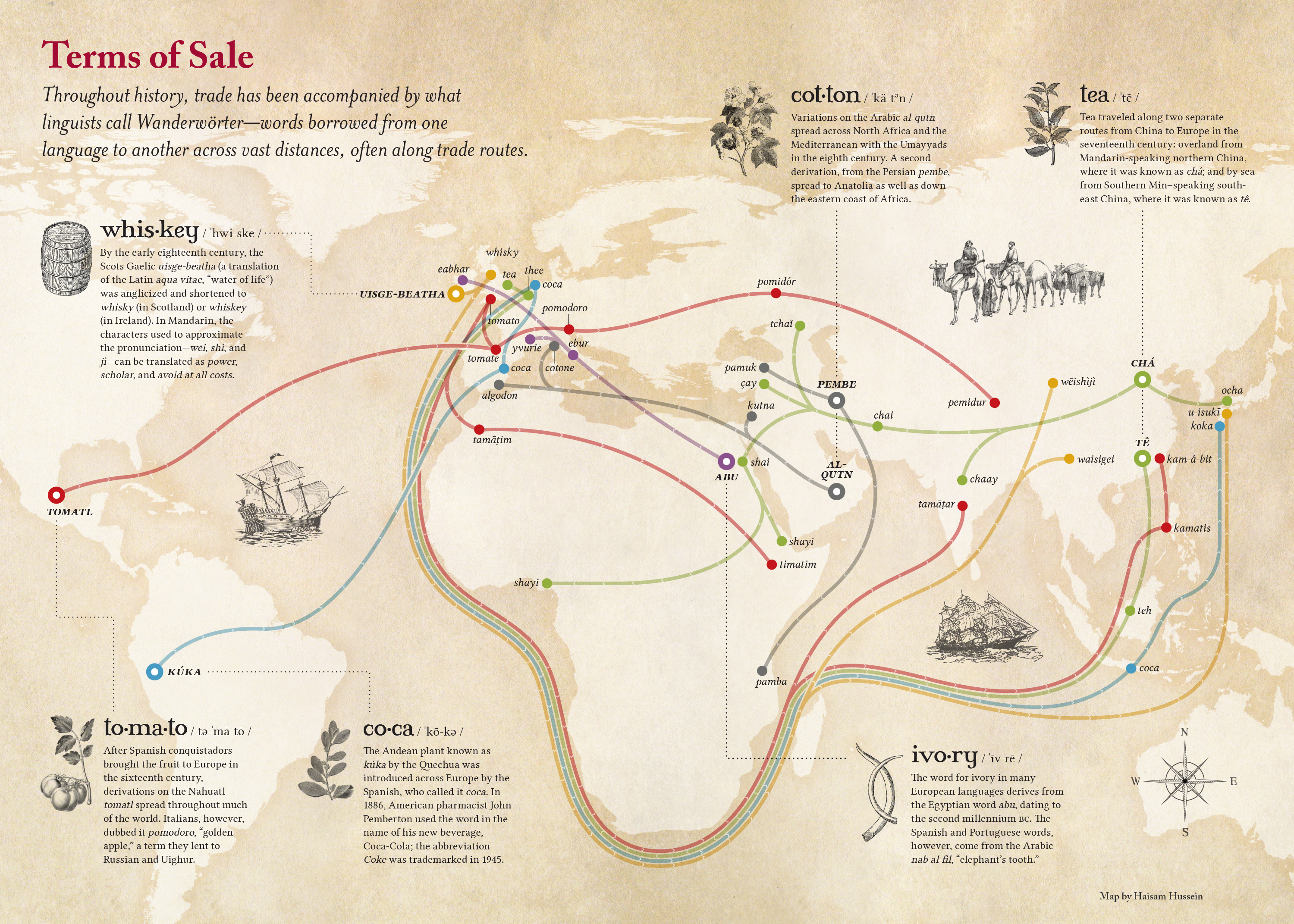 How Words Spread Along Trade Routes