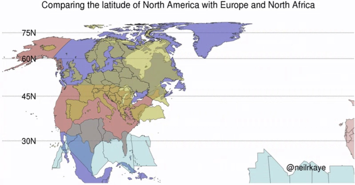 Latitude Comparison of North America and Europe/North Africa ...