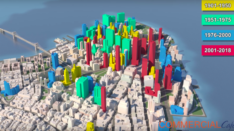 Lower Manhattan Skyscrapers Organized by the Time Period They Were Built In