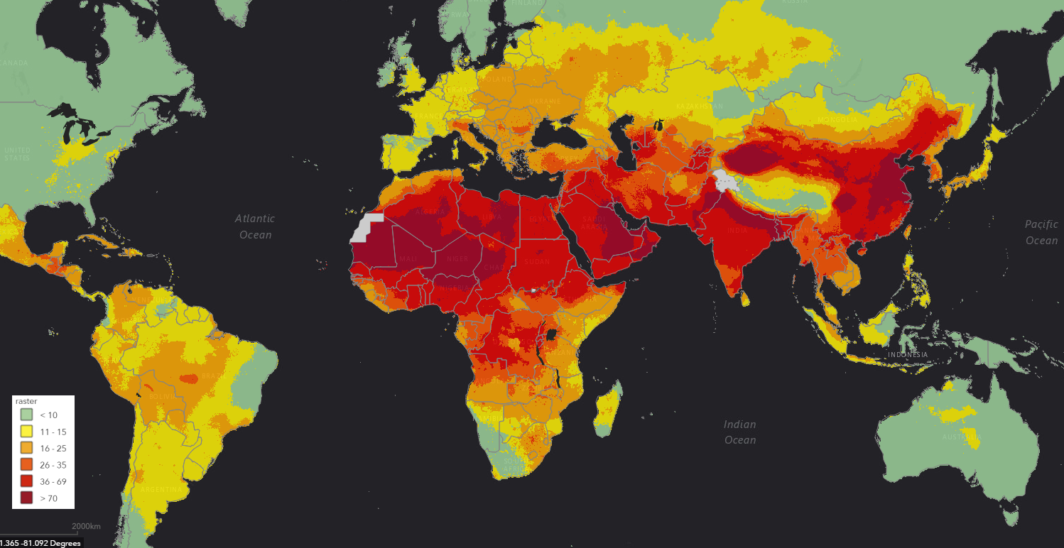 air pollution world map