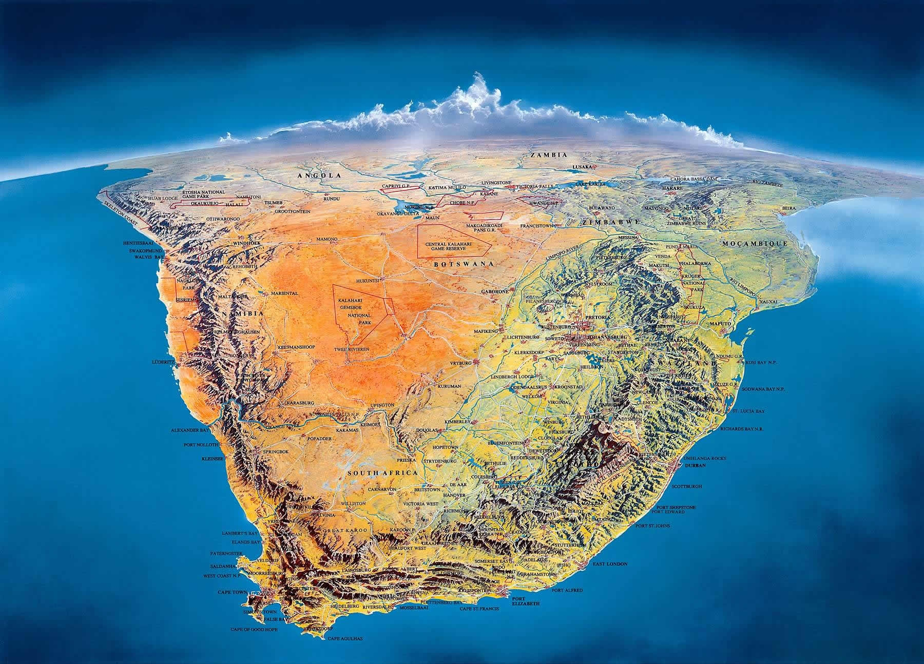 panoramic perspective map southern africa