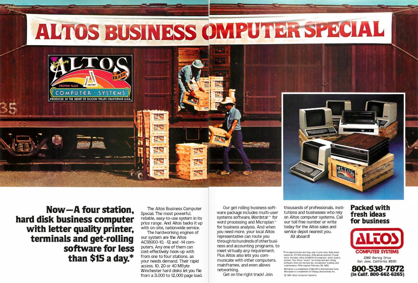 Altos Computer Systems, 1982