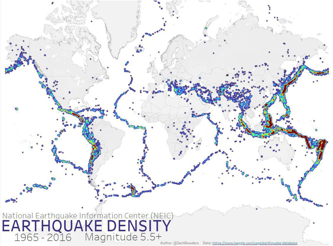 Worldwide Earthquake Density Map