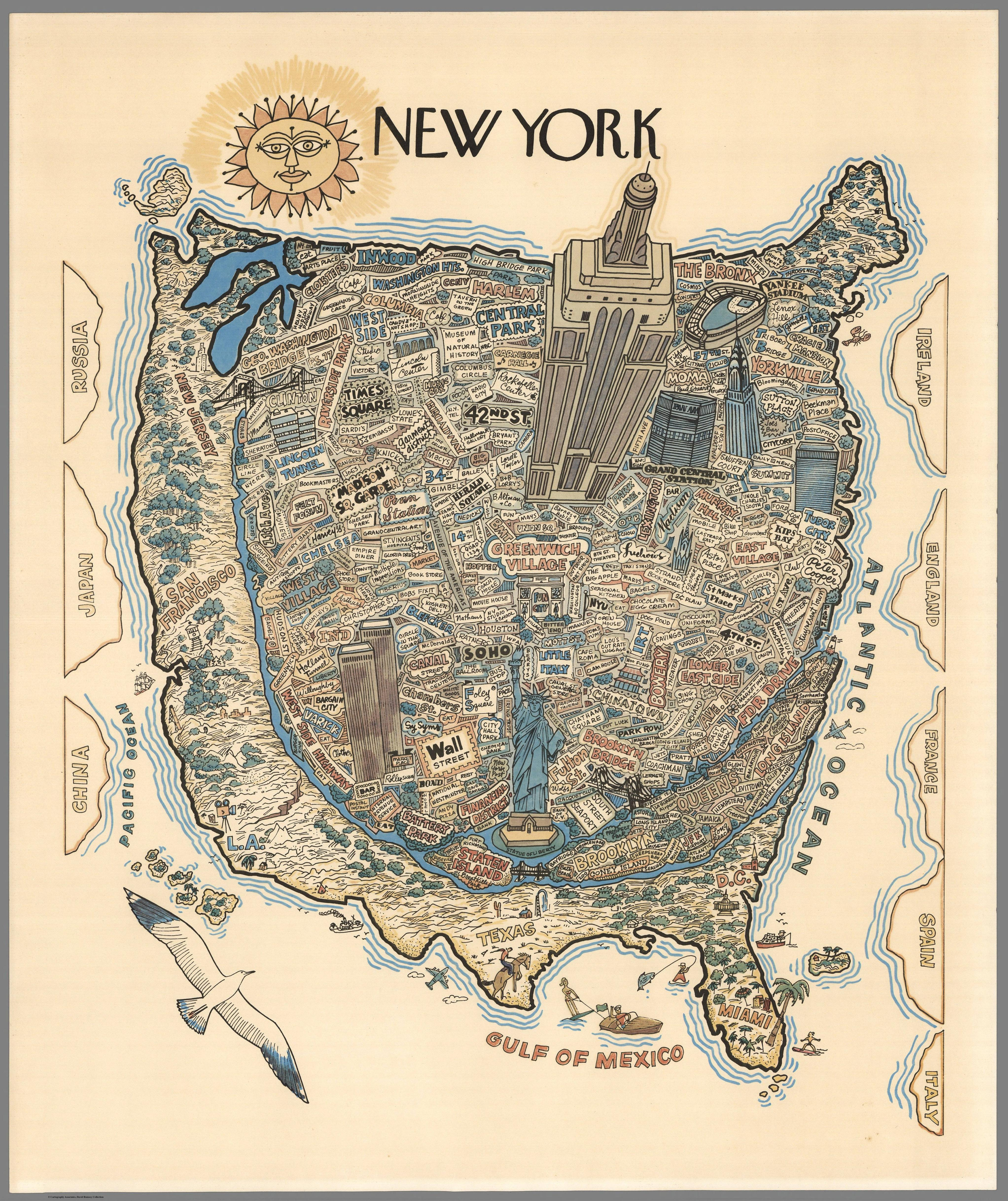 New Yorker's idea of the United States 1970